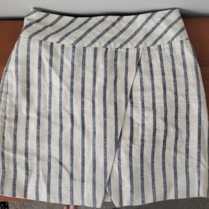 JCrew striped linen asymmetrical skirt